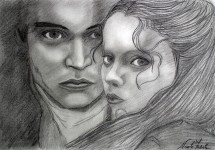 Technique : dessin au crayon Johnny Depp et Christina Ricci  24 novembre 1999